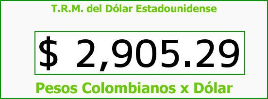 T.R.M. del Dólar para hoy Jueves 25 de Mayo de 2017