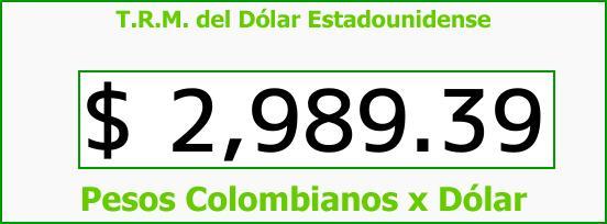 T.R.M. del Dólar para hoy Jueves 26 de Octubre de 2017