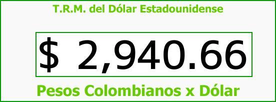 T.R.M. del Dólar para hoy Jueves 28 de Septiembre de 2017