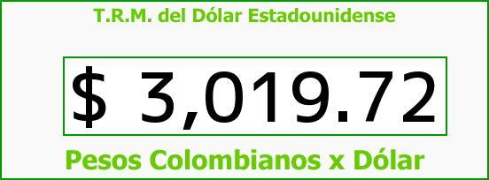 T.R.M. del Dólar para hoy Jueves 29 de Diciembre de 2016
