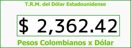 T.R.M. del Dólar para hoy Jueves 29 de Enero de 2015