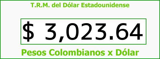 T.R.M. del Dólar para hoy Jueves 29 de Junio de 2017