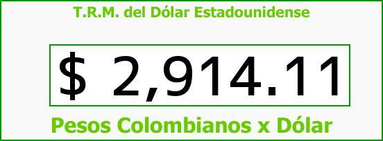 T.R.M. del Dólar para hoy Jueves 29 de Septiembre de 2016