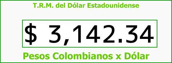 T.R.M. del Dólar para hoy Jueves 3 de Septiembre de 2015