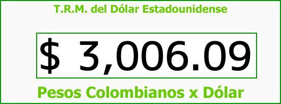 T.R.M. del Dólar para hoy Jueves 30 de Noviembre de 2017