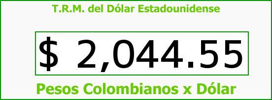 T.R.M. del Dólar para hoy Jueves 30 de Octubre de 2014