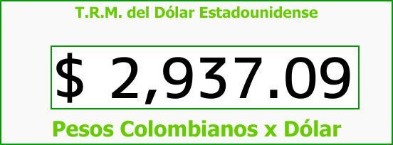 T.R.M. del Dólar para hoy Jueves 31 de Agosto de 2017