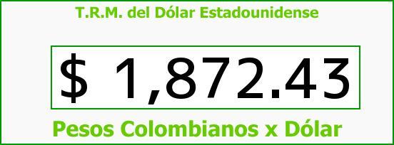 T.R.M. del Dólar para hoy Jueves 31 de Julio de 2014