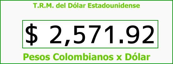 T.R.M. del Dólar para hoy Jueves 4 de Junio de 2015