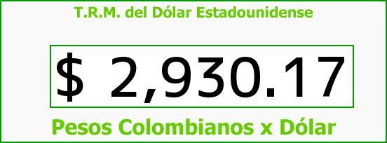 T.R.M. del Dólar para hoy Jueves 4 de Mayo de 2017