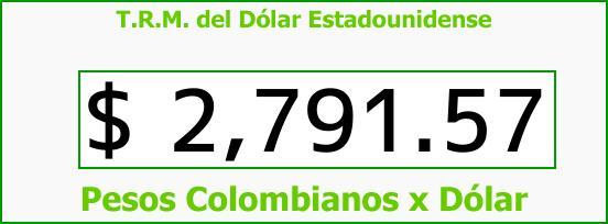 T.R.M. del Dólar para hoy Jueves 5 de Abril de 2018