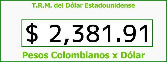 T.R.M. del Dólar para hoy Jueves 5 de Febrero de 2015