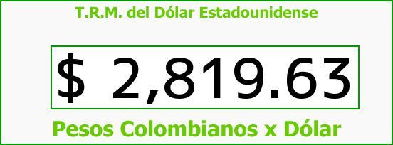 T.R.M. del Dólar para hoy Jueves 5 de Noviembre de 2015