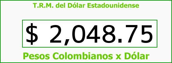 T.R.M. del Dólar para hoy Jueves 6 de Febrero de 2014