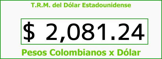 T.R.M. del Dólar para hoy Jueves 6 de Noviembre de 2014