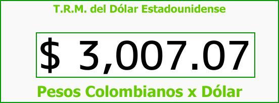 T.R.M. del Dólar para hoy Jueves 7 de Diciembre de 2017