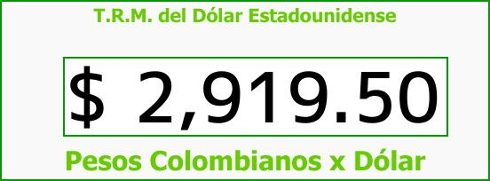 T.R.M. del Dólar para hoy Jueves 7 de Septiembre de 2017