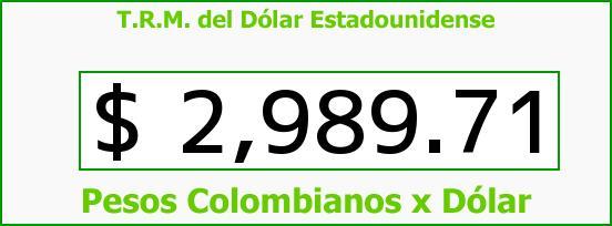 T.R.M. del Dólar para hoy Jueves 8 de Diciembre de 2016