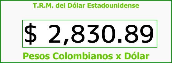 T.R.M. del Dólar para hoy Jueves 8 de Febrero de 2018