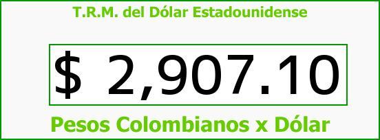 T.R.M. del Dólar para hoy Jueves 8 de Junio de 2017