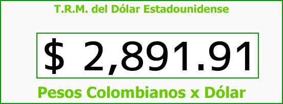 T.R.M. del Dólar para hoy Jueves 8 de Octubre de 2015