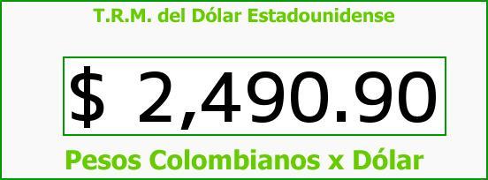 T.R.M. del Dólar para hoy Jueves 9 de Abril de 2015