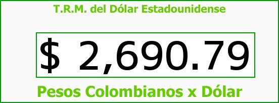 T.R.M. del Dólar para hoy Jueves 9 de Julio de 2015