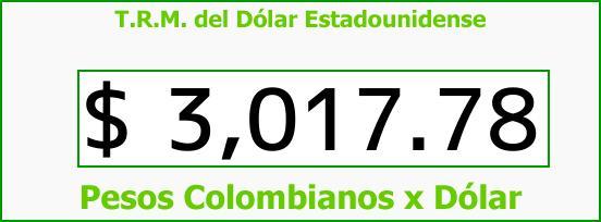 T.R.M. del Dólar para hoy Jueves 9 de Noviembre de 2017