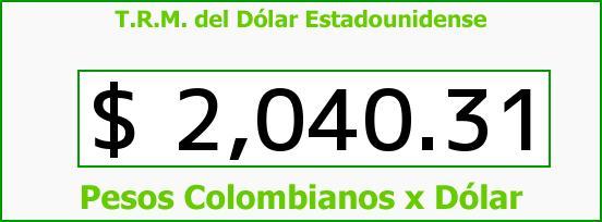 T.R.M. del Dólar para hoy Jueves 9 de Octubre de 2014