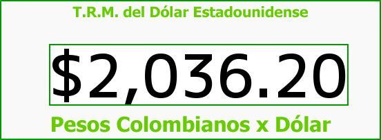 T.R.M. del Dólar para hoy Lunes 10 de Marzo de 2014