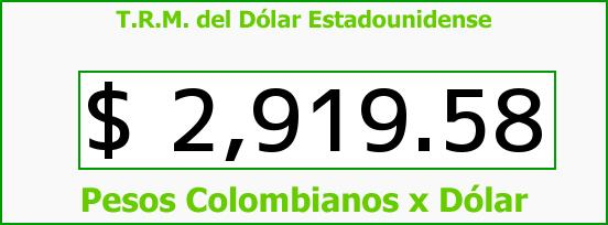 T.R.M. del Dólar para hoy Lunes 12 de Junio de 2017