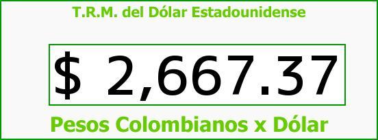 T.R.M. del Dólar para hoy Lunes 13 de Julio de 2015