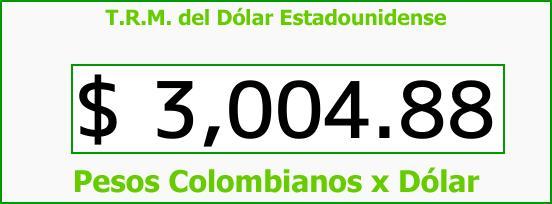 T.R.M. del Dólar para hoy Lunes 13 de Noviembre de 2017