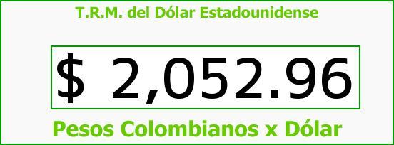 T.R.M. del Dólar para hoy Lunes 13 de Octubre de 2014