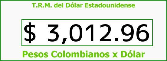 T.R.M. del Dólar para hoy Lunes 14 de Septiembre de 2015