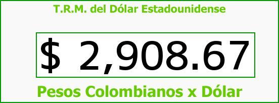 T.R.M. del Dólar para hoy Lunes 15 de Agosto de 2016