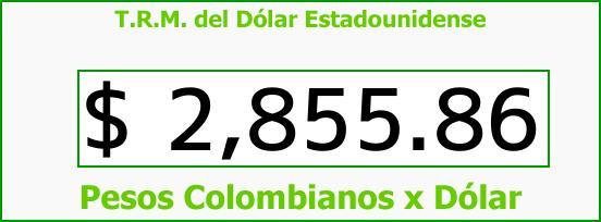 T.R.M. del Dólar para hoy Lunes 15 de Enero de 2018