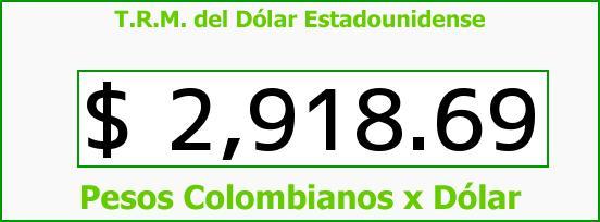 T.R.M. del Dólar para hoy Lunes 15 de Mayo de 2017