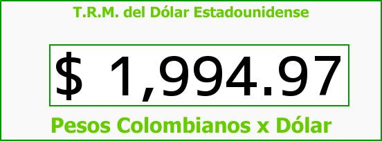 T.R.M. del Dólar para hoy Lunes 15 de Septiembre de 2014