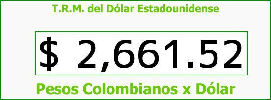 T.R.M. del Dólar para hoy Lunes 16 de Marzo de 2015