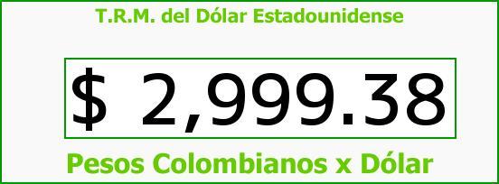 T.R.M. del Dólar para hoy Lunes 18 de Abril de 2016