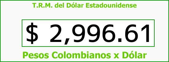 T.R.M. del Dólar para hoy Lunes 18 de Diciembre de 2017