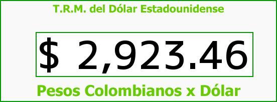 T.R.M. del Dólar para hoy Lunes 18 de Julio de 2016