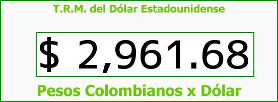 T.R.M. del Dólar para hoy Lunes 19 de Junio de 2017