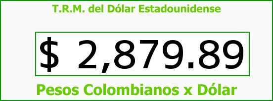 T.R.M. del Dólar para hoy Lunes 19 de Octubre de 2015