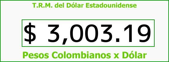 T.R.M. del Dólar para hoy Lunes 20 de Noviembre de 2017