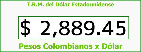 T.R.M. del Dólar para hoy Lunes 22 de Mayo de 2017