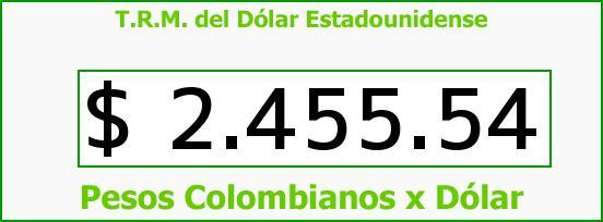T.R.M. del Dólar para hoy Lunes 23 de Febrero de 2015