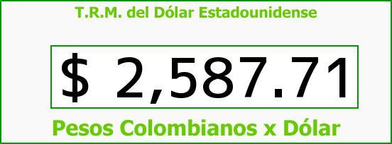T.R.M. del Dólar para hoy Lunes 23 de Marzo de 2015