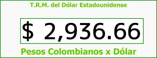 T.R.M. del Dólar para hoy Lunes 23 de Octubre de 2017